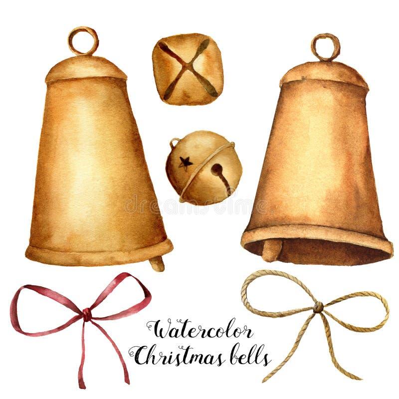 Vattenfärgjuluppsättning med klockor och pilbågen Hand målad feriedekor som isoleras på vit bakgrund Julgemkonst stock illustrationer