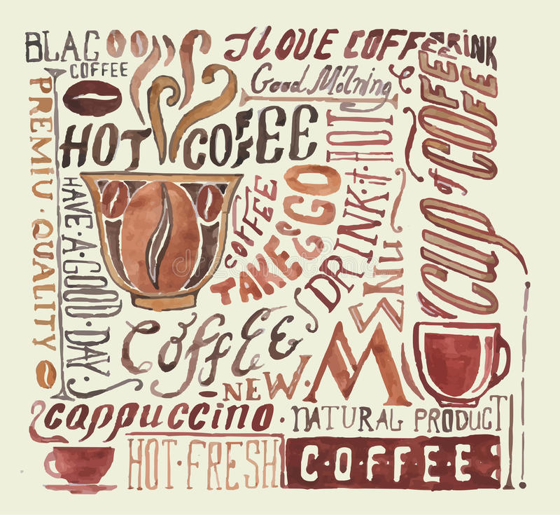 Vattenfärgkaffeaffisch royaltyfri illustrationer