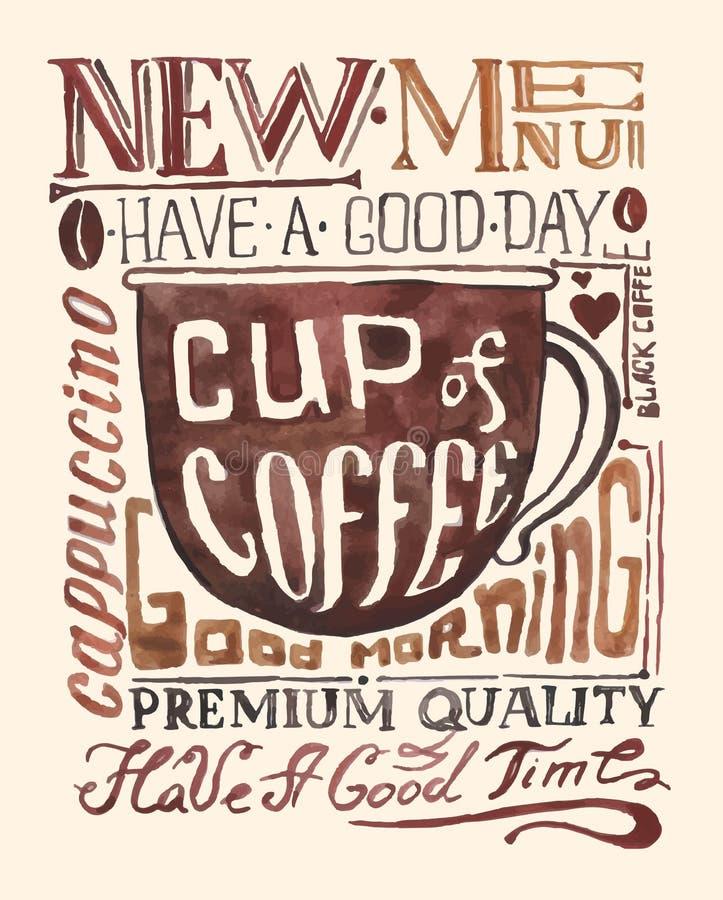 Vattenfärgkaffeaffisch stock illustrationer