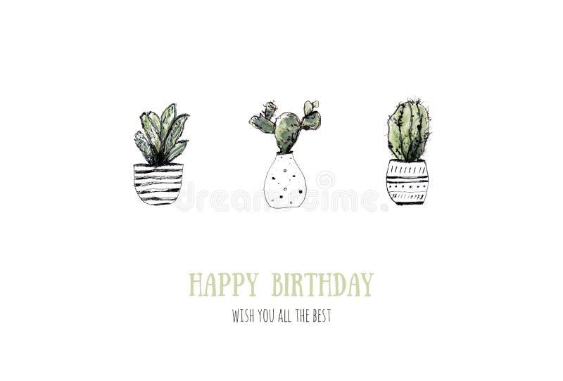 Vattenfärgkakturs Kaktusblommabakgrund Modernt lantligt hem- konstkort för tryckdesign Grungesuckulentuppsättning moderiktigt stock illustrationer