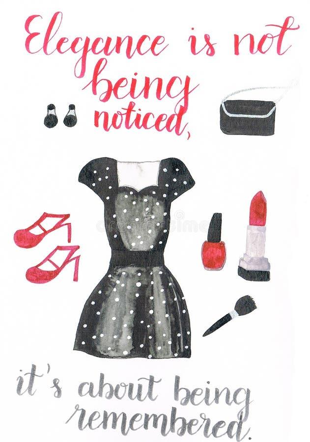 Vattenfärgkläder för ett specialt tillfälle som består av en härlig prickig klänning, röda höga häl, en svart kopplingpåse och sm vektor illustrationer