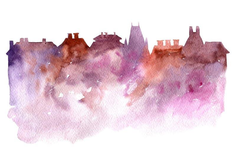 Vattenfärgkontur av staden stock illustrationer