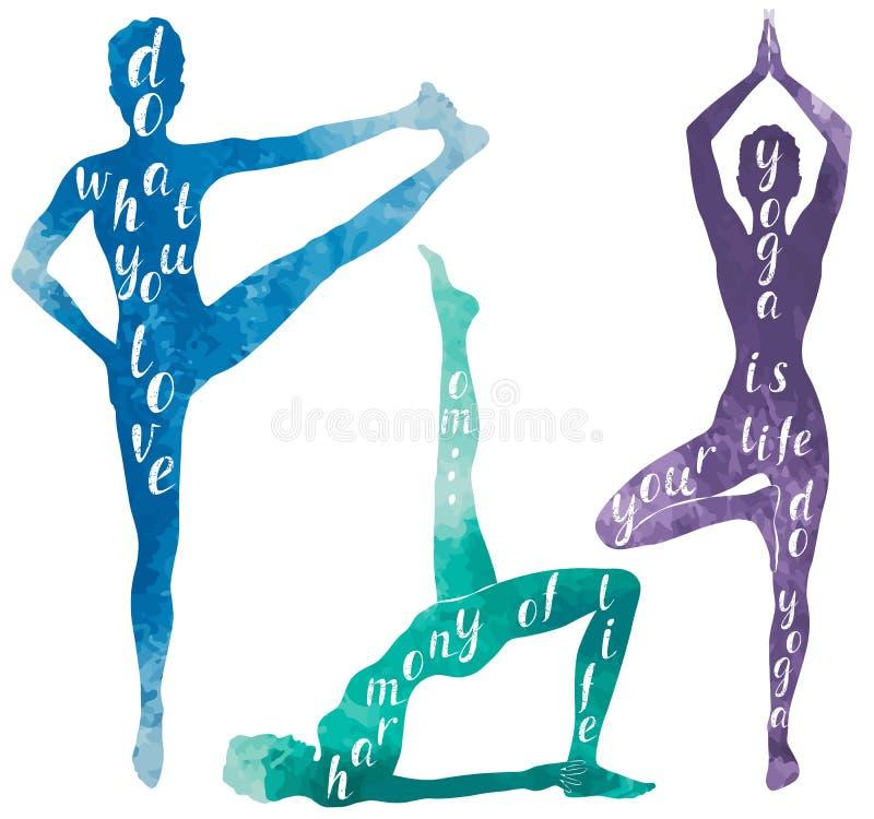 Vattenfärgkonturer av kvinnan som gör yoga, eller pilates övar stock illustrationer