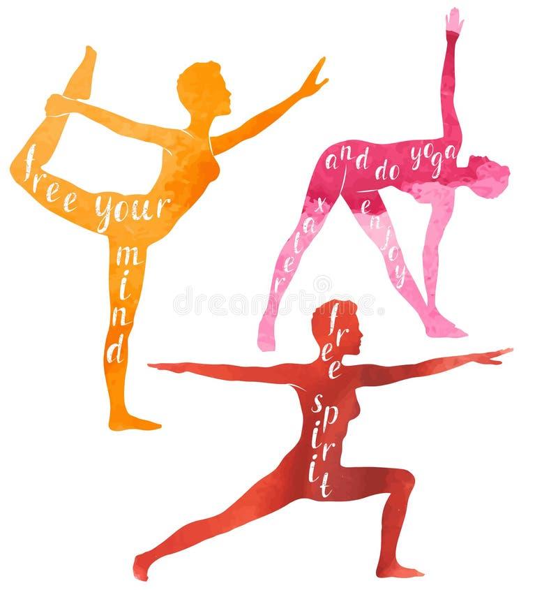 Vattenfärgkonturer av kvinnan som gör yoga, eller pilates övar Yogamotivation stock illustrationer