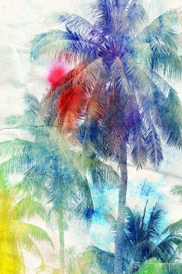 Vattenfärgkonturer av palmträd vektor illustrationer