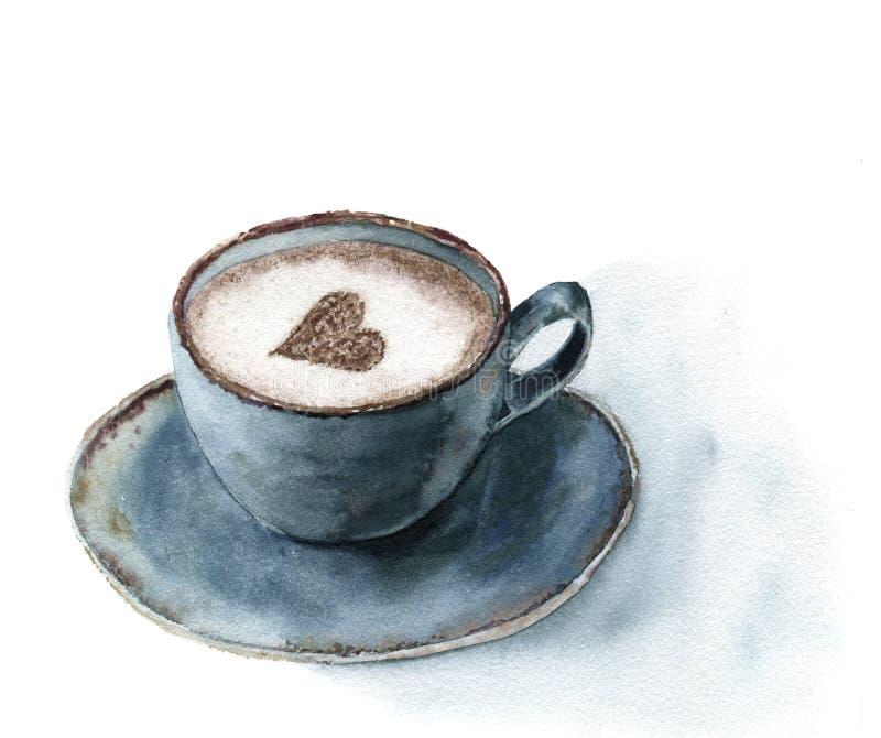 Vattenfärgkopp av cappuccino med den kanelbruna hjärtadekoren Matillustration med den blåa koppen kaffe på vit bakgrund stock illustrationer
