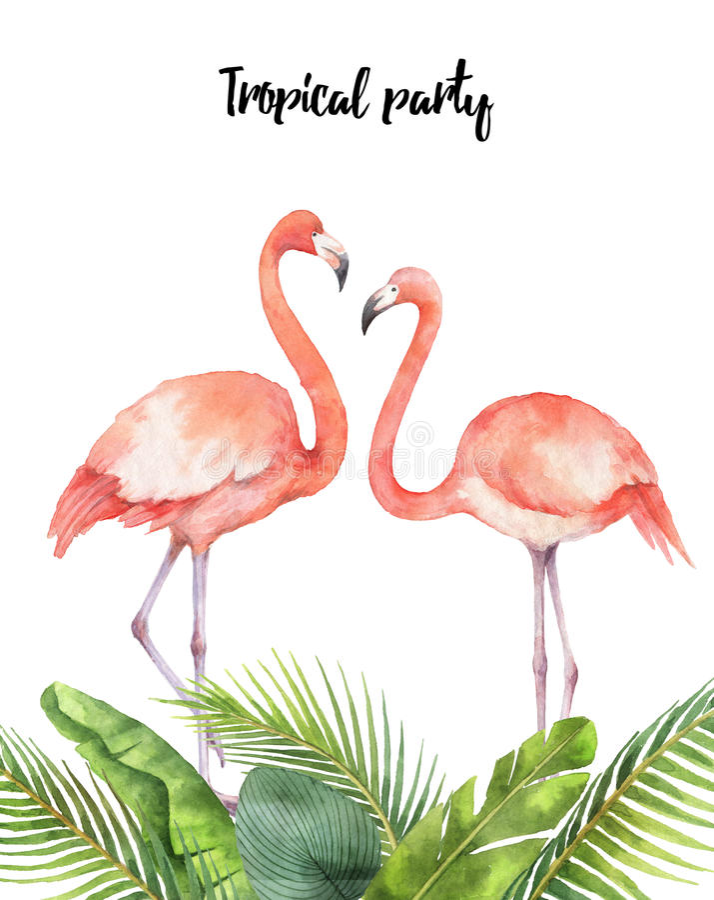 Vattenfärgkort av tropiska sidor och rosa flamingo som isoleras på vit bakgrund stock illustrationer