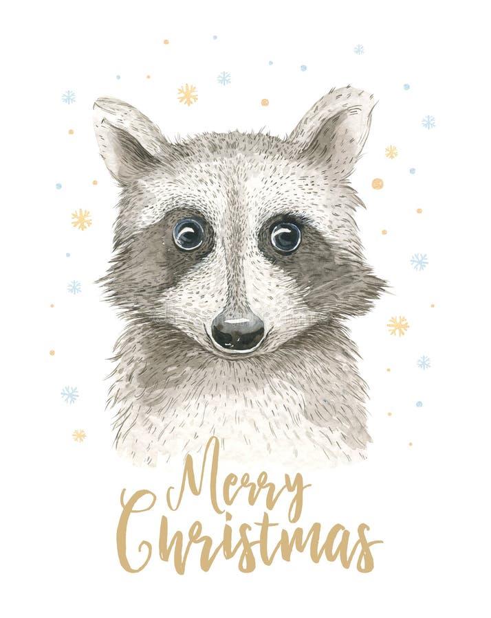 Vattenfärgkort för glad jul med tvättbjörnen Bokstäveraffischer för lyckligt nytt år Garnering för vinterXmas-design royaltyfri illustrationer