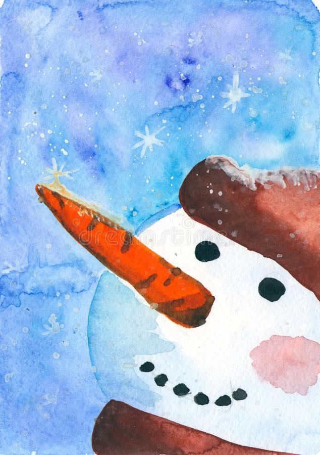 Vattenfärgkort med en snögubbe Vinterlandskap för kort, inbjudningar, hälsningkort vektor illustrationer