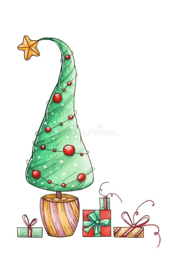 Vattenfärgkort med ett träd och gåvor för nytt år vektor illustrationer