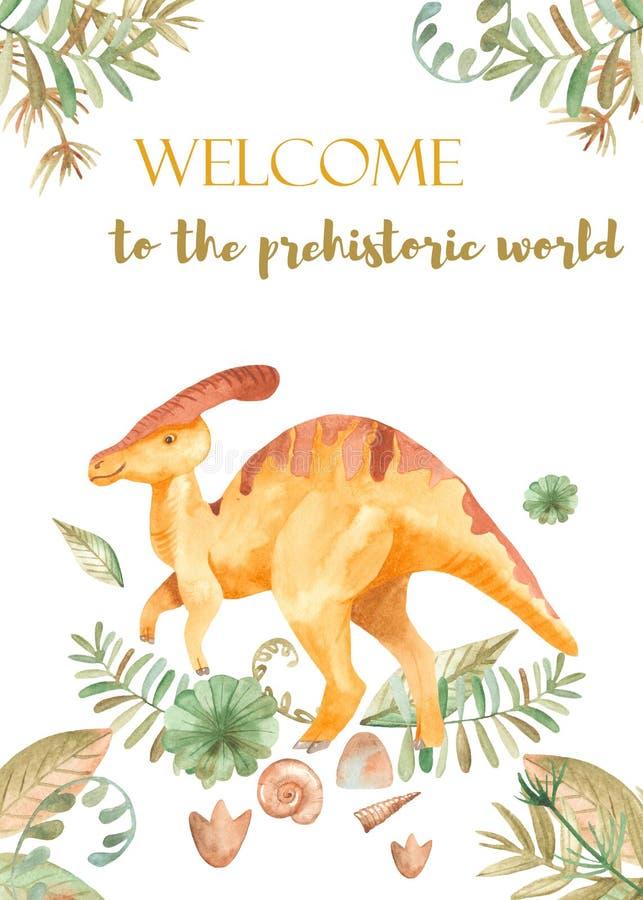 Vattenfärgkort med gulliga tecknad filmdinosaurier royaltyfri illustrationer