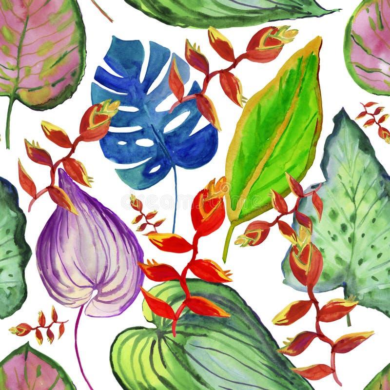 Vattenfärgkort med härliga blommor Blommar vattenfärgillustrationen alla några objekt för den blom- illustrationen för sammansätt stock illustrationer