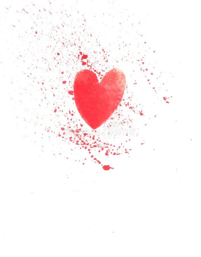 Vattenfärgkort med hjärta royaltyfri illustrationer