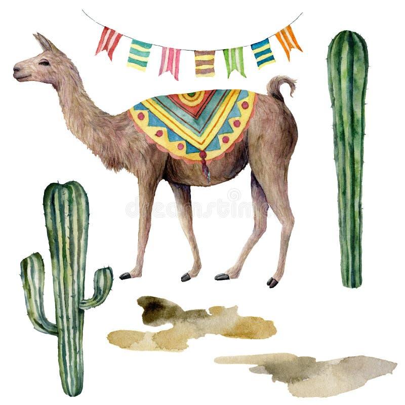Vattenfärgkort med laman, flaggagirlanden och kakturs Handen målade den härliga illustrationen med djurt, blom- och girlanden royaltyfri illustrationer