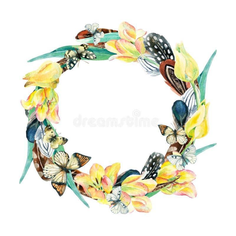 Vattenfärgkrans med den fågelfjädrar, blommor och fjärilen stock illustrationer