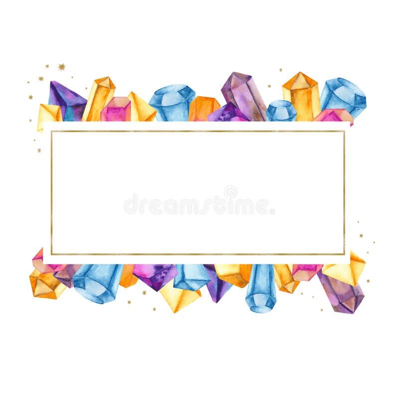 Vattenfärgkristaller i en guld- ram, baner stock illustrationer