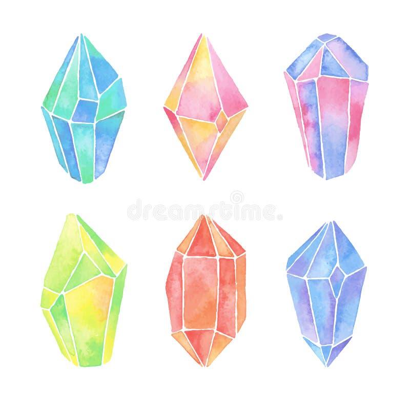 Vattenfärgkristalluppsättning royaltyfri illustrationer