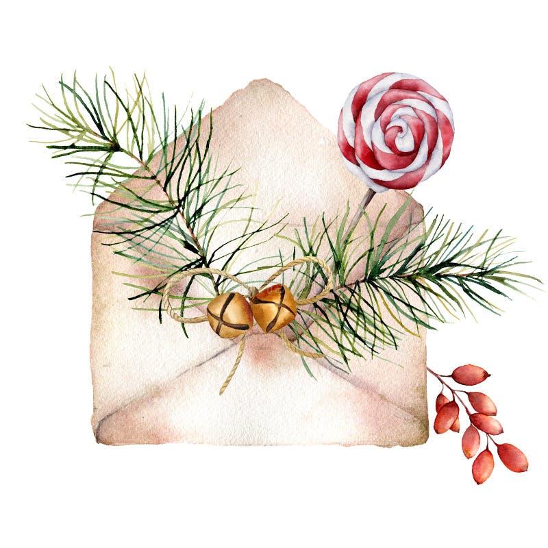 Vattenfärgkuvert med juldekoren Handen målade granfilialen, barberryen, klockor, pepparmintklubban som isolerades på stock illustrationer