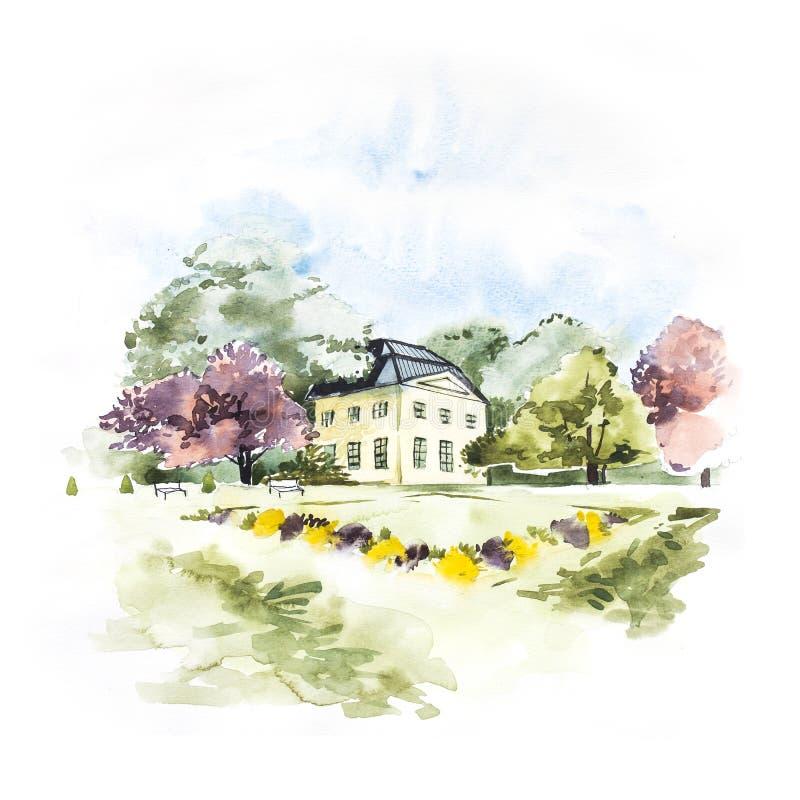 Vattenfärglandskap med blå himmel, moln, den gröna gläntan med buskar och träd, med huset Hand dragen natureuropé vektor illustrationer