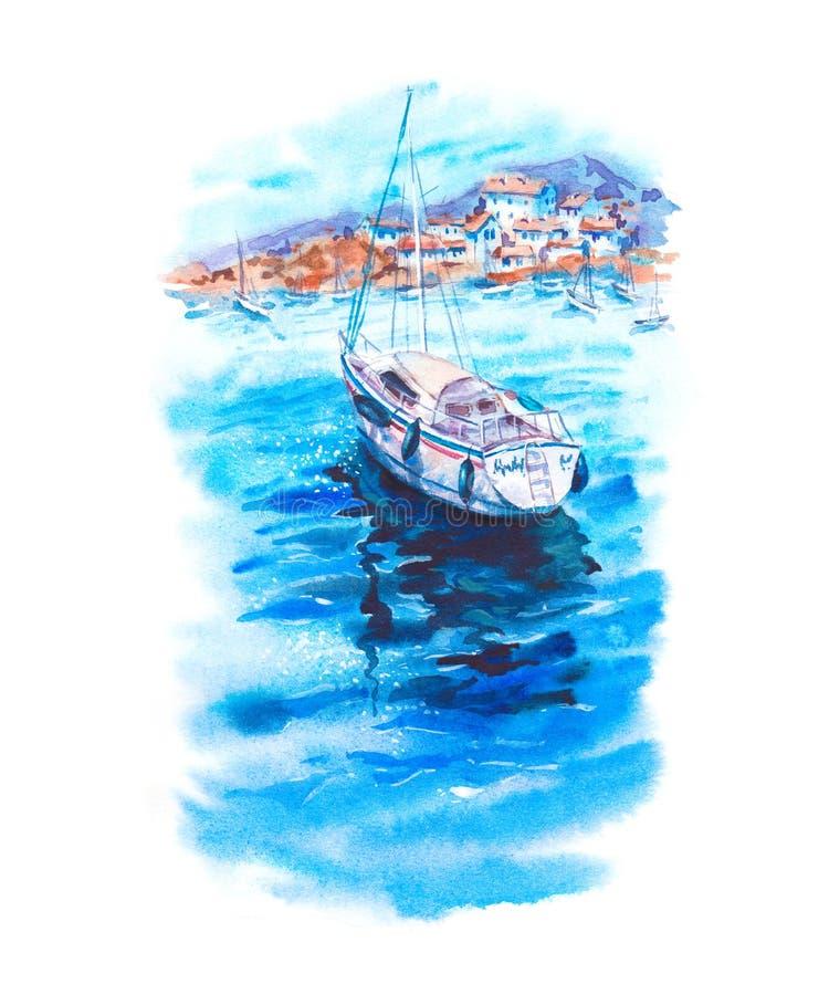 Vattenfärglandskap med havet, fartyg, yachter vektor illustrationer