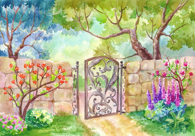 Vattenfärglandskap, porten till trädgården En solig dag en gar vektor illustrationer