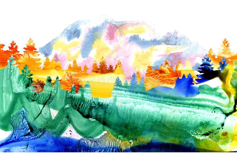 Vattenfärglandskapet med sörjer och gran trees2 stock illustrationer