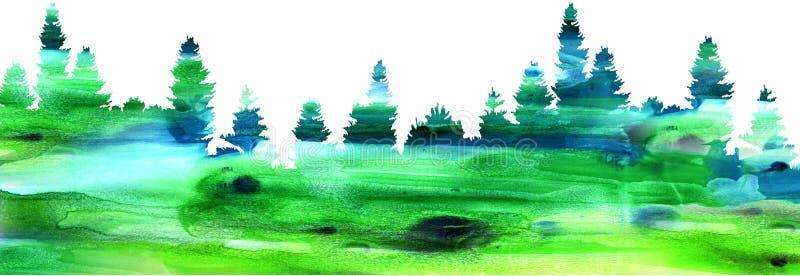 Vattenfärglandskapet med sörjer och gran trees5 royaltyfri fotografi