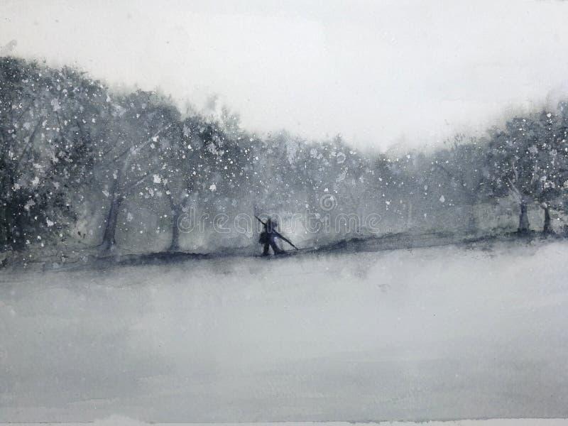 Vattenfärglandskapman som går till och med skogen i snöstormen Traditionellt orientaliskt asia konststil stock illustrationer