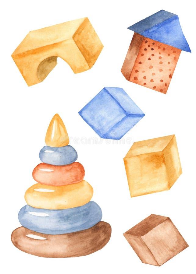 Vattenfärgleksaker för barn Kuber konstruktör, pyramid som isoleras på vit bakgrund royaltyfri illustrationer