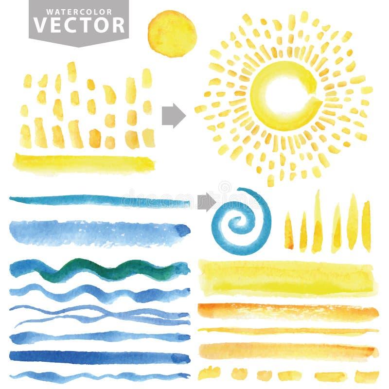 Vattenfärglinje borstar, bristning, strålar, våg Guling blått Sommaruppsättning stock illustrationer
