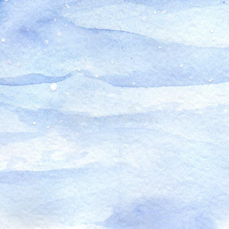 Vattenfärgljus - blå bakgrund för textur för vintersnöhimmel vektor illustrationer