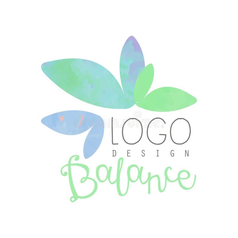 Vattenfärglogodesign med abstrakta sidor Växt- jämvikt Dekorativ vektorbeståndsdel för yogagrupp eller brunnsortsalong stock illustrationer