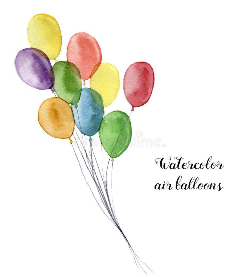 Vattenfärgluftballonger Hand målade partiobjekt som isoleras på vit bakgrund Hälsa objekt för design eller tryck royaltyfri illustrationer