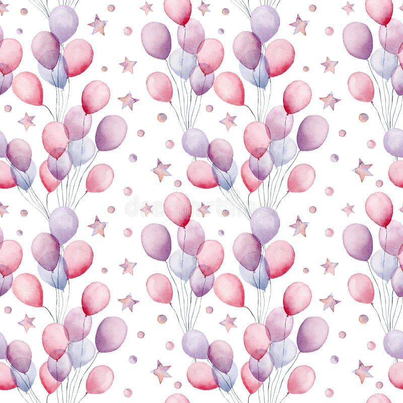Vattenfärgluftballons och sömlös modell för stjärnor Räcka den målade illustrationen med färgrika luftballonger och stjärnor stock illustrationer