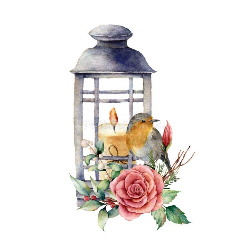 Vattenfärglykta med stearinljuset och rödhaken Handen målade traditionella feriedekoren, lykta med steg och den isolerade växten stock illustrationer