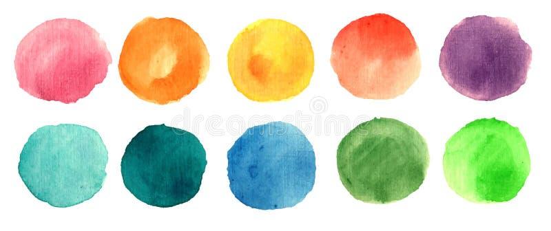Vattenfärgmålarfärgcirklar vektor illustrationer