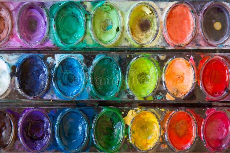 Vattenfärgmålarfärger arkivbilder