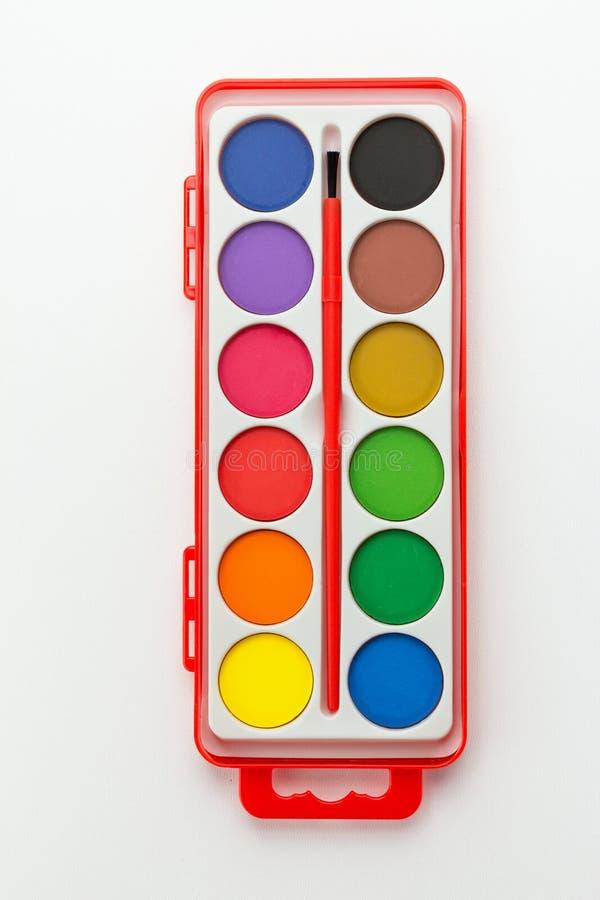 Vattenfärgmålarfärguppsättning arkivfoto