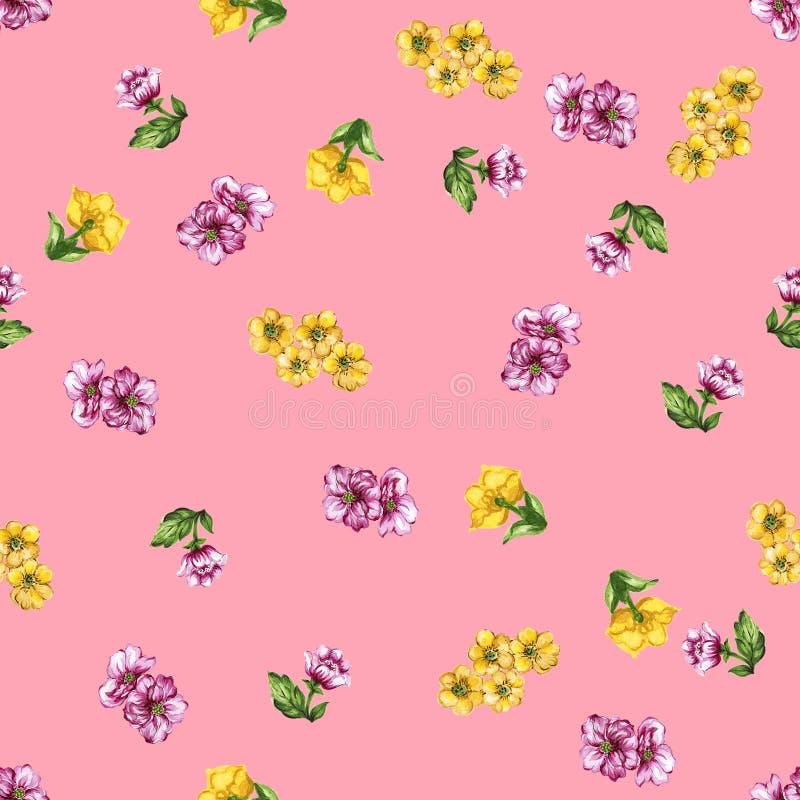 Vattenfärgmålning av bladet och blommabakgrund royaltyfri illustrationer