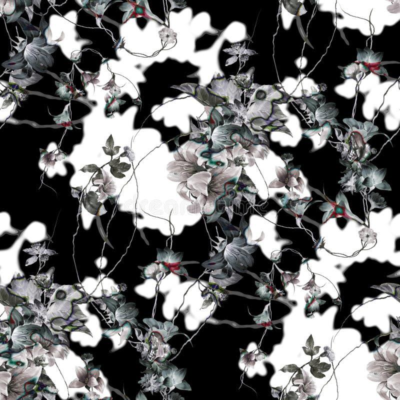 Vattenfärgmålning av bladet och blommor som är sömlös royaltyfri bild