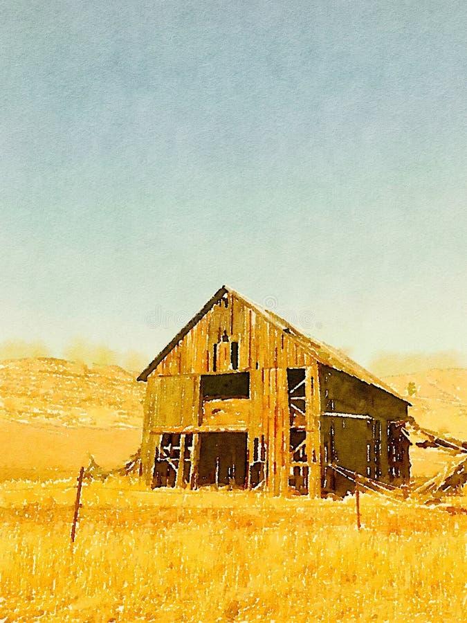 Vattenfärgmålning av den gamla övergav ladugården i bygden av Idaho, USA royaltyfri fotografi