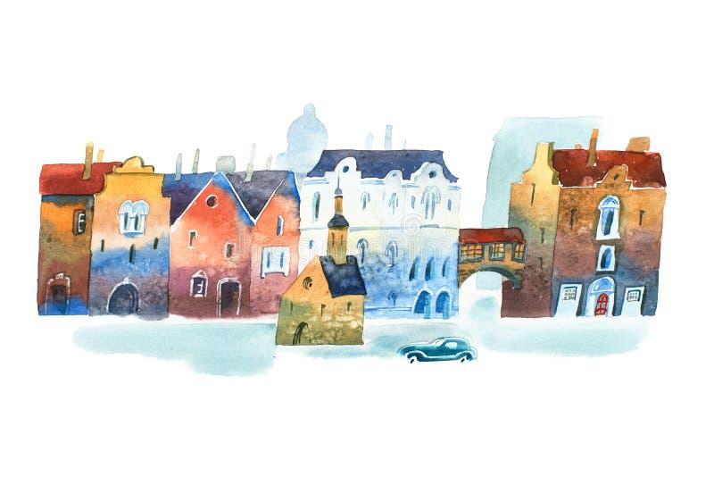 Vattenfärgmålning av den gamla stadsgatan i Europa med kapellet i mitt och en bil royaltyfri illustrationer