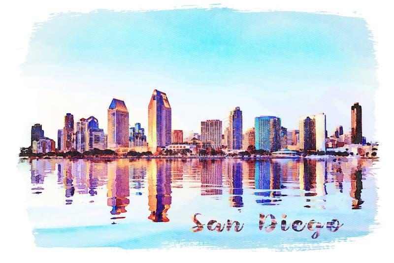 Vattenfärgmålning från fotografiet av San Diego Skyline på solnedgången från Coronado royaltyfria foton