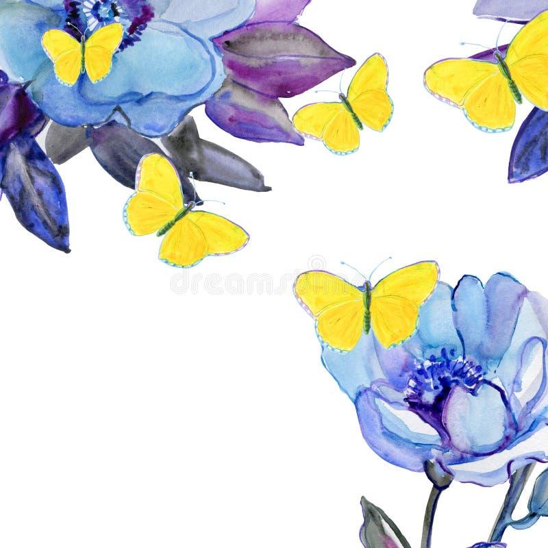 Vattenfärgmålning, hand målade teckningen Mall för hälsningkort med färgrika lösa blommor royaltyfri illustrationer