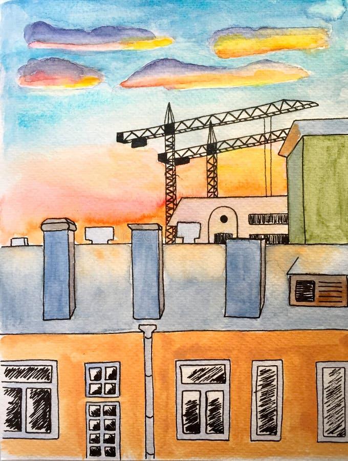 Vattenfärgmålning med bläckpennalinjer stadslandskap - hus och byggnadskranar - under solnedgång royaltyfri illustrationer