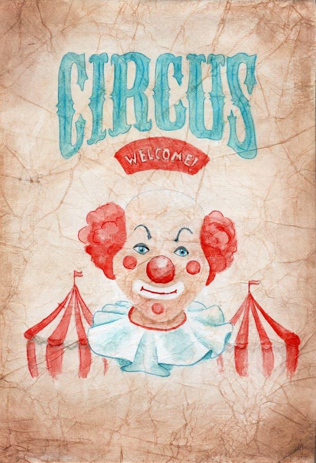 Vattenfärgmålning på skrynkligt gammalt papper - cirkus, clown stock illustrationer