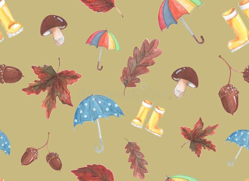Vattenfärgmålning på temat av hösten royaltyfri illustrationer