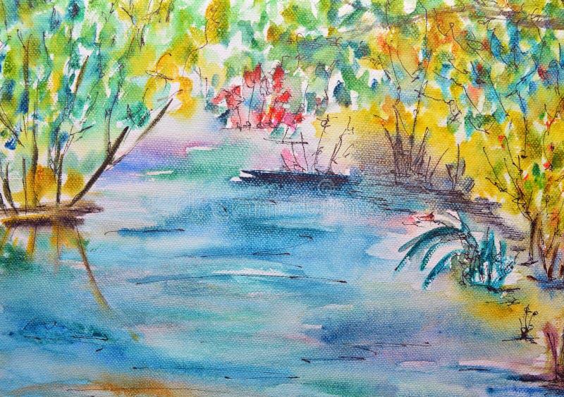 Vattenfärgmålning, sjö royaltyfri illustrationer