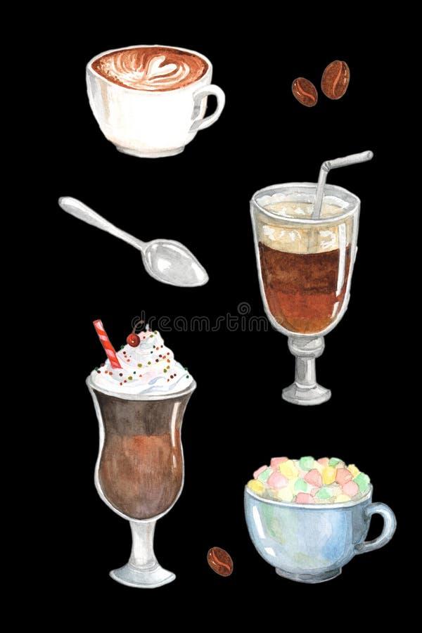 Vattenfärgmålning som visar olika typer av kaffe fotografering för bildbyråer