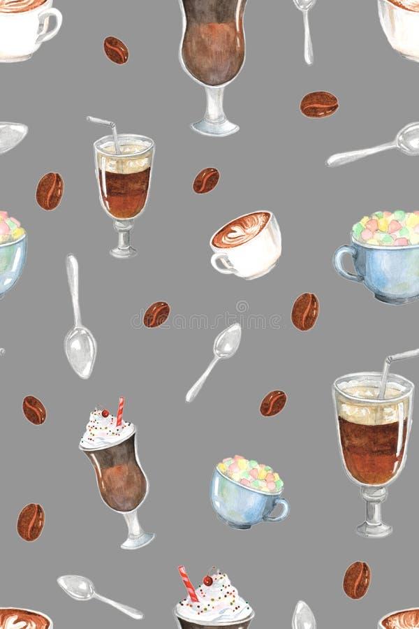 Vattenfärgmålning som visar olika typer av kaffe arkivfoton